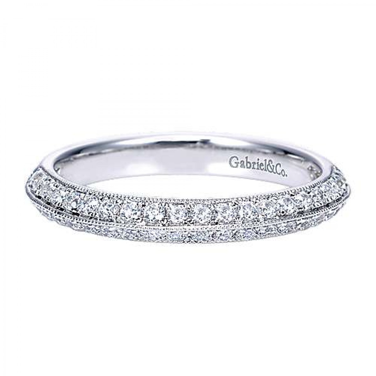 Knife Edge Micro Pave Diamond Wedding Ring (0.45 Ct. Tw.) Regarding Most Recent Micropavé Diamond Narrow Wedding Bands (Gallery 8 of 25)