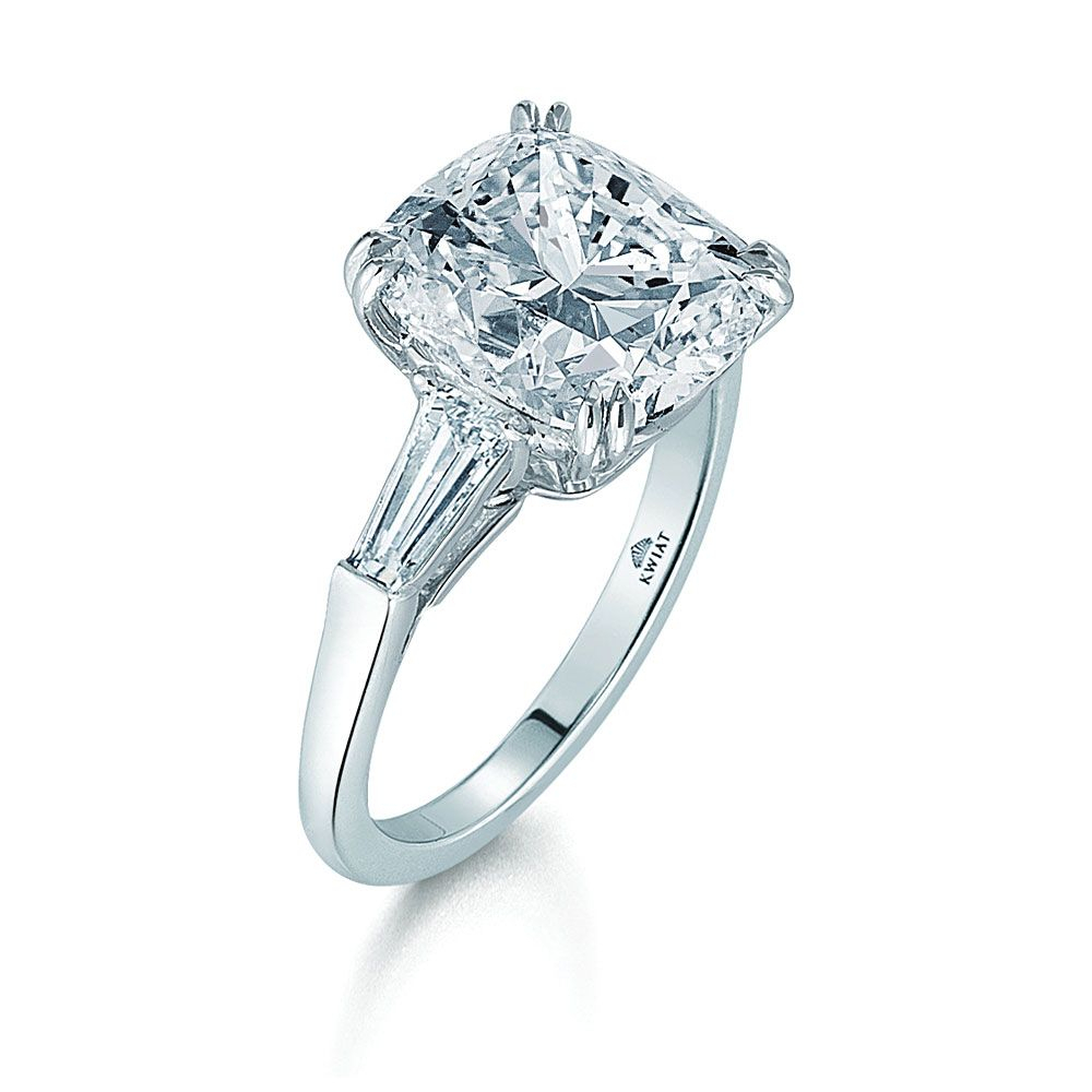 Kwiat: Cushion Diamond And Platinum Ring With Two Tapered Intended For Cushion Cut Engagement Rings With Tapered Baguette Side Stones (Gallery 22 of 25)