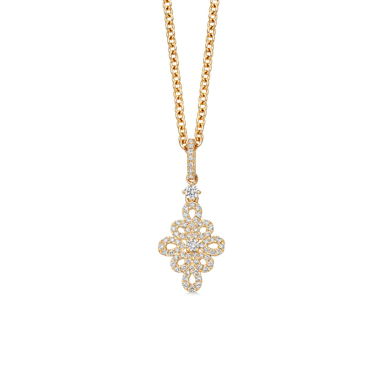 Lace Pave Diamond Pendant In Yellow Gold Pertaining To Recent Diamond Necklaces In Yellow Gold (View 16 of 25)