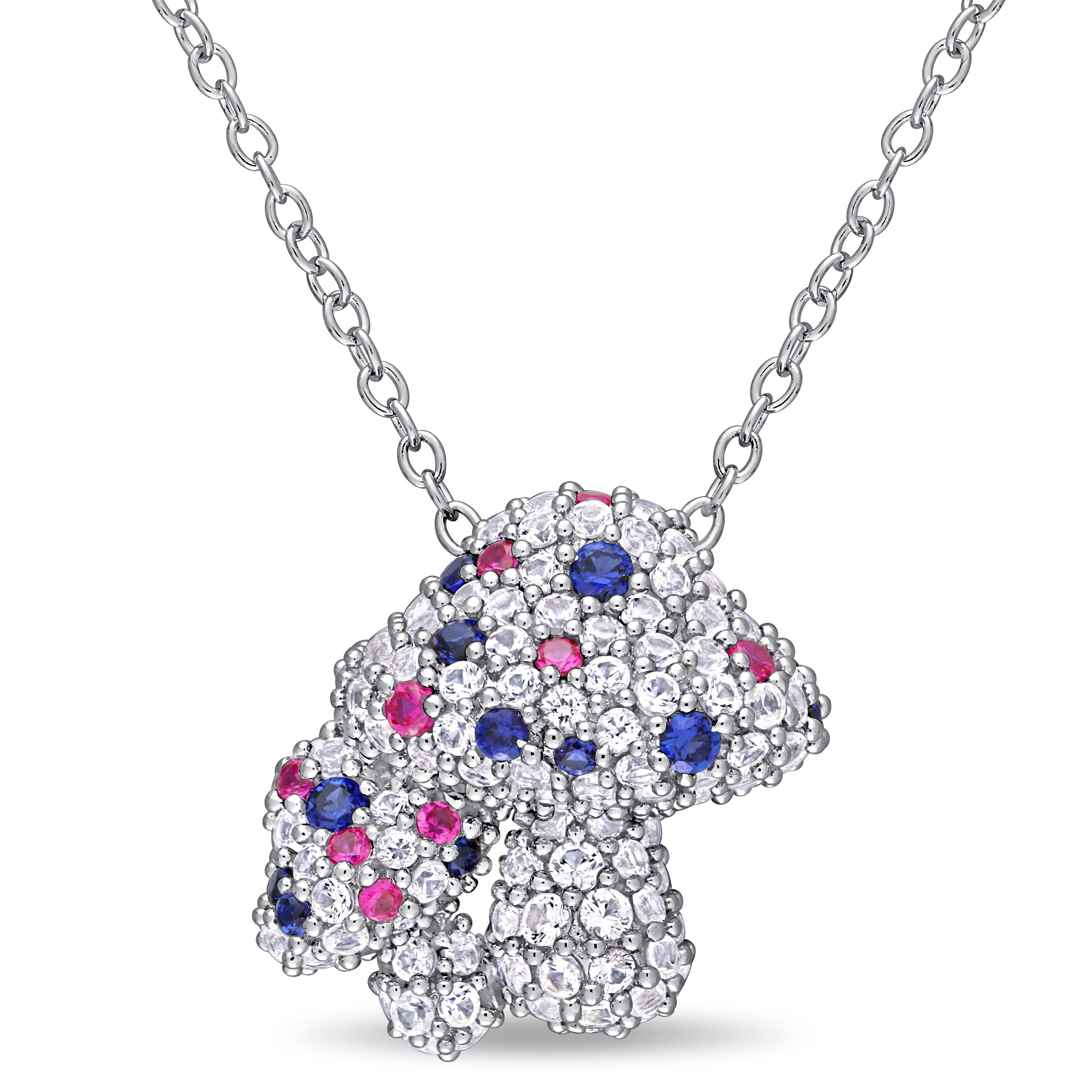 Laura Ashley Created White Blue Sapphire And Created Ruby Clustered  Mushrooms Necklace In Silver Inside 2019 Reversible Diamond, Sapphire And Aquamarine Pendant Necklaces (View 17 of 25)