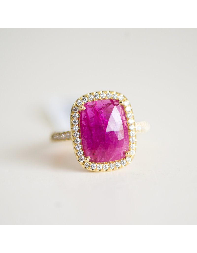 Lauren K Ruby Misha Ring Intended For Cushion Cut Ruby Rings (View 7 of 25)