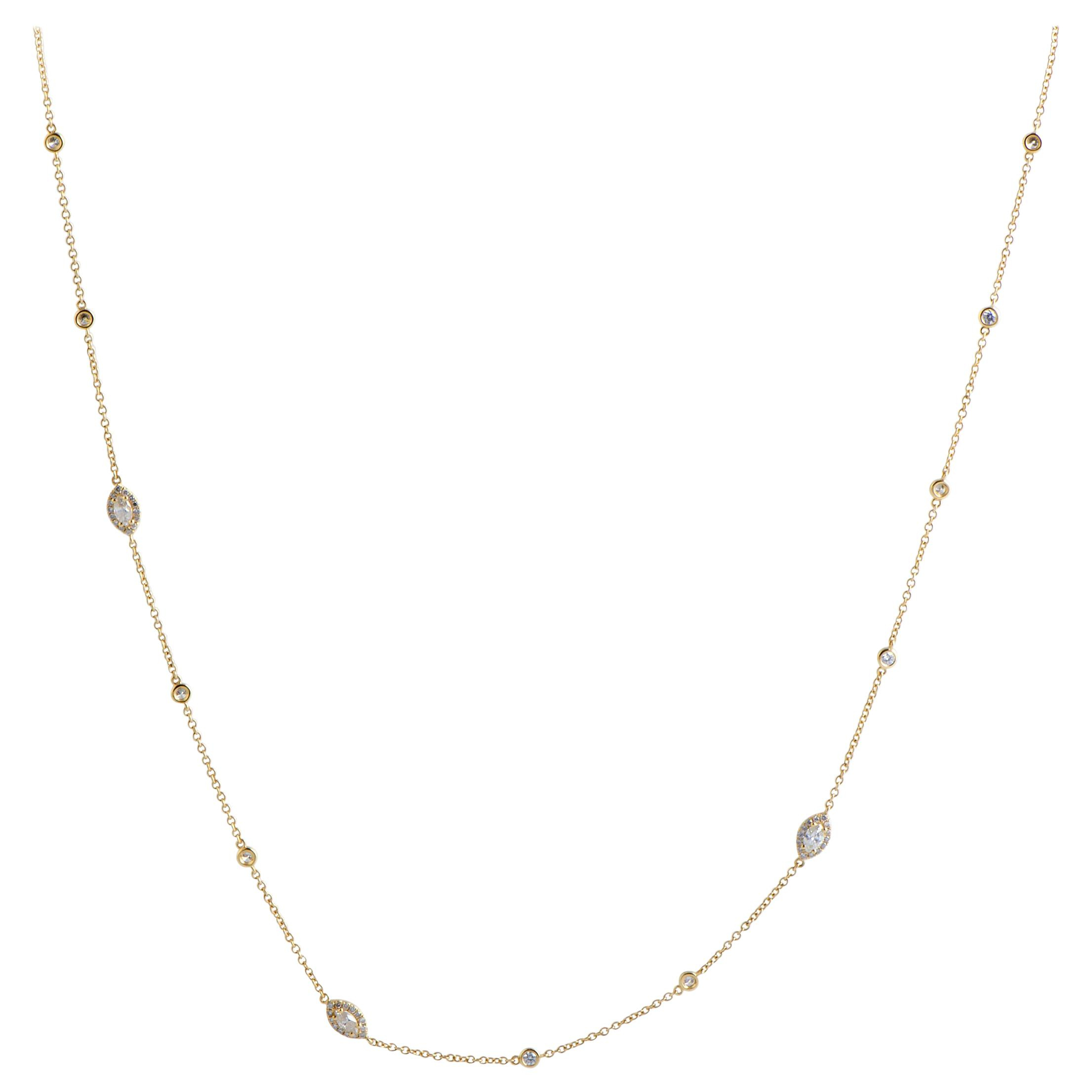 Lb Exclusive 18 Karat Gold Round And Marquise Diamonds Long Sautoir Necklace Intended For Latest Diamond Sautoir Necklaces In Yellow Gold (View 11 of 25)