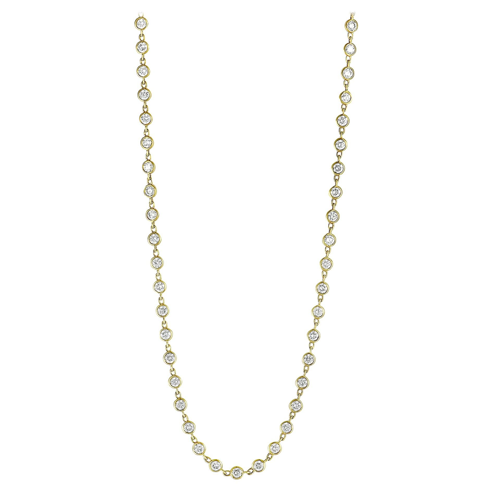 Lb Exclusive 18 Karat Yellow Gold Round Diamonds Sautoir Long Necklace In Most Recently Released Yellow Gold Diamond Sautoir Necklaces (View 8 of 25)