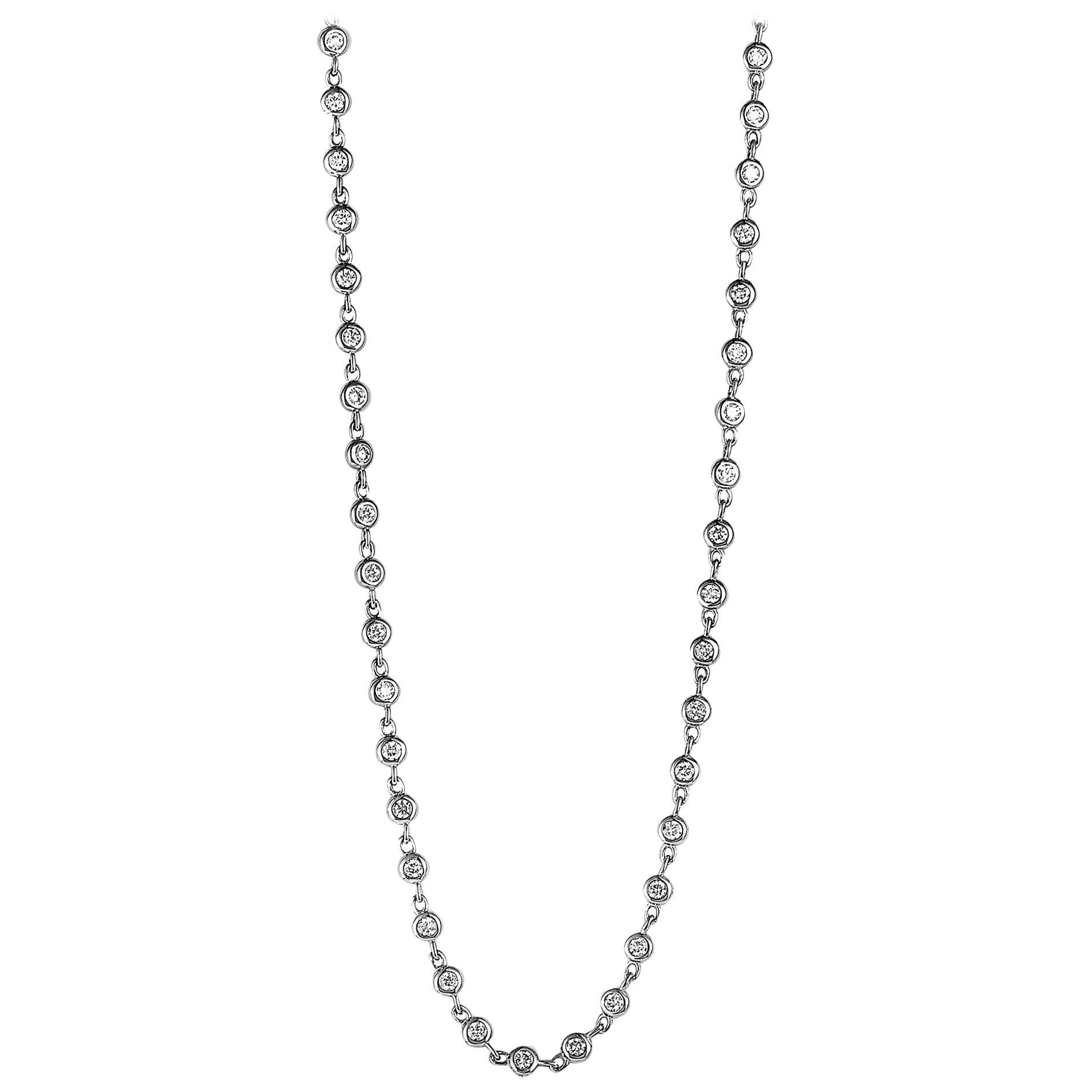 Lb Exclusive 18 Karat Yellow Gold Round Diamonds Sautoir Long Necklace With Regard To 2019 Diamond Sautoir Necklaces In Yellow Gold (View 6 of 25)
