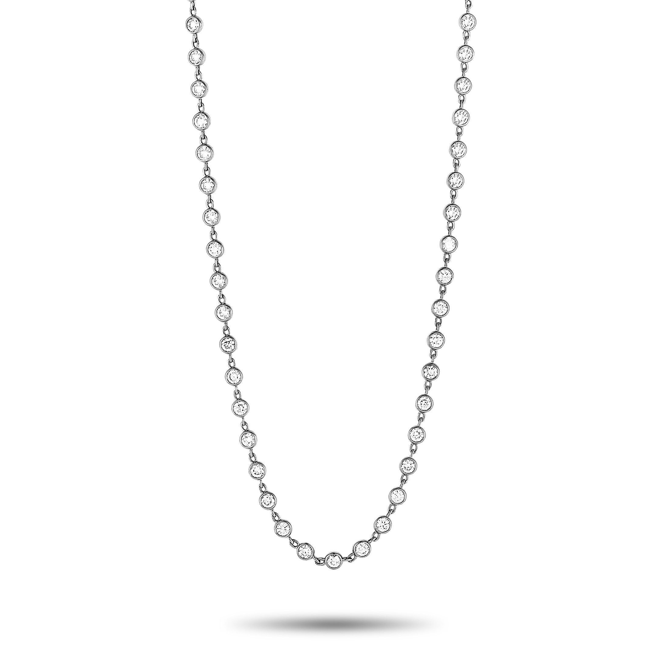 Lb Exclusive 18k White Gold Diamond Sautoir Necklace Regarding Current White Gold Diamond Sautoir Necklaces (View 1 of 25)