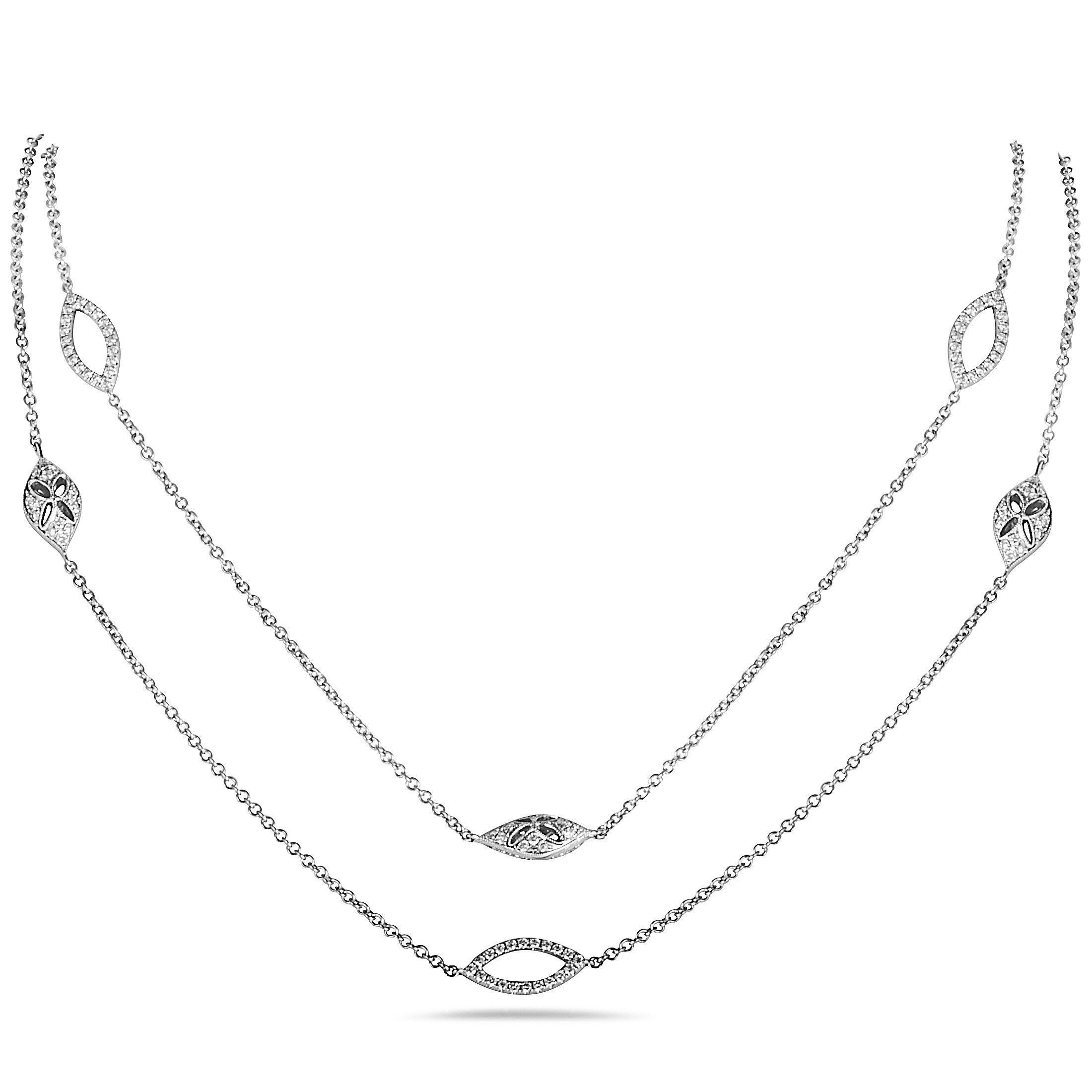 Lb Exclusive 18k White Gold Marquise Diamond Long Sautoir Necklace In Most Current White Gold Diamond Sautoir Necklaces (View 10 of 25)