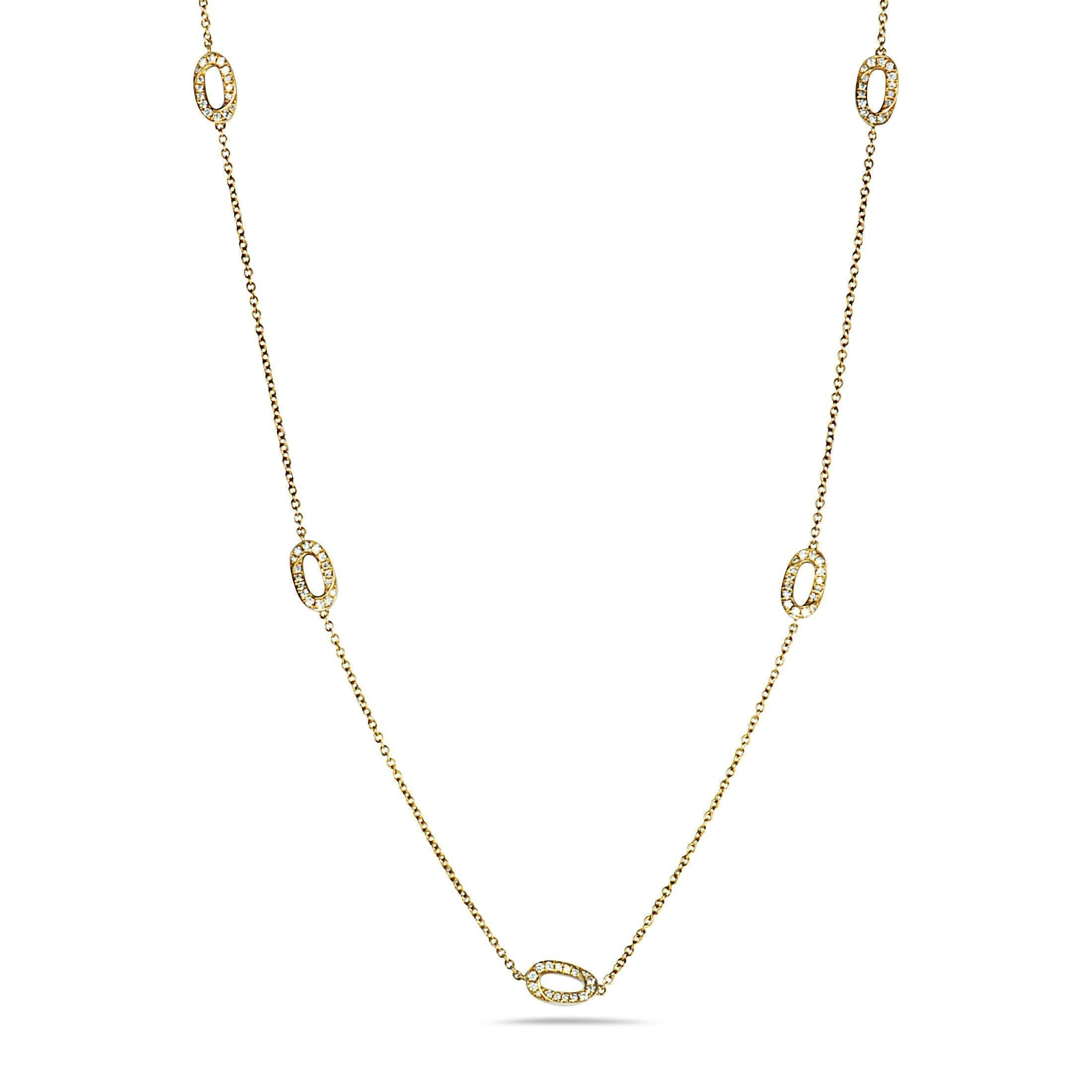 Lb Exclusive 18k Yellow Gold Diamond Oval Long Sautoir Necklace Pertaining To Most Up To Date Yellow Gold Diamond Sautoir Necklaces (View 9 of 25)