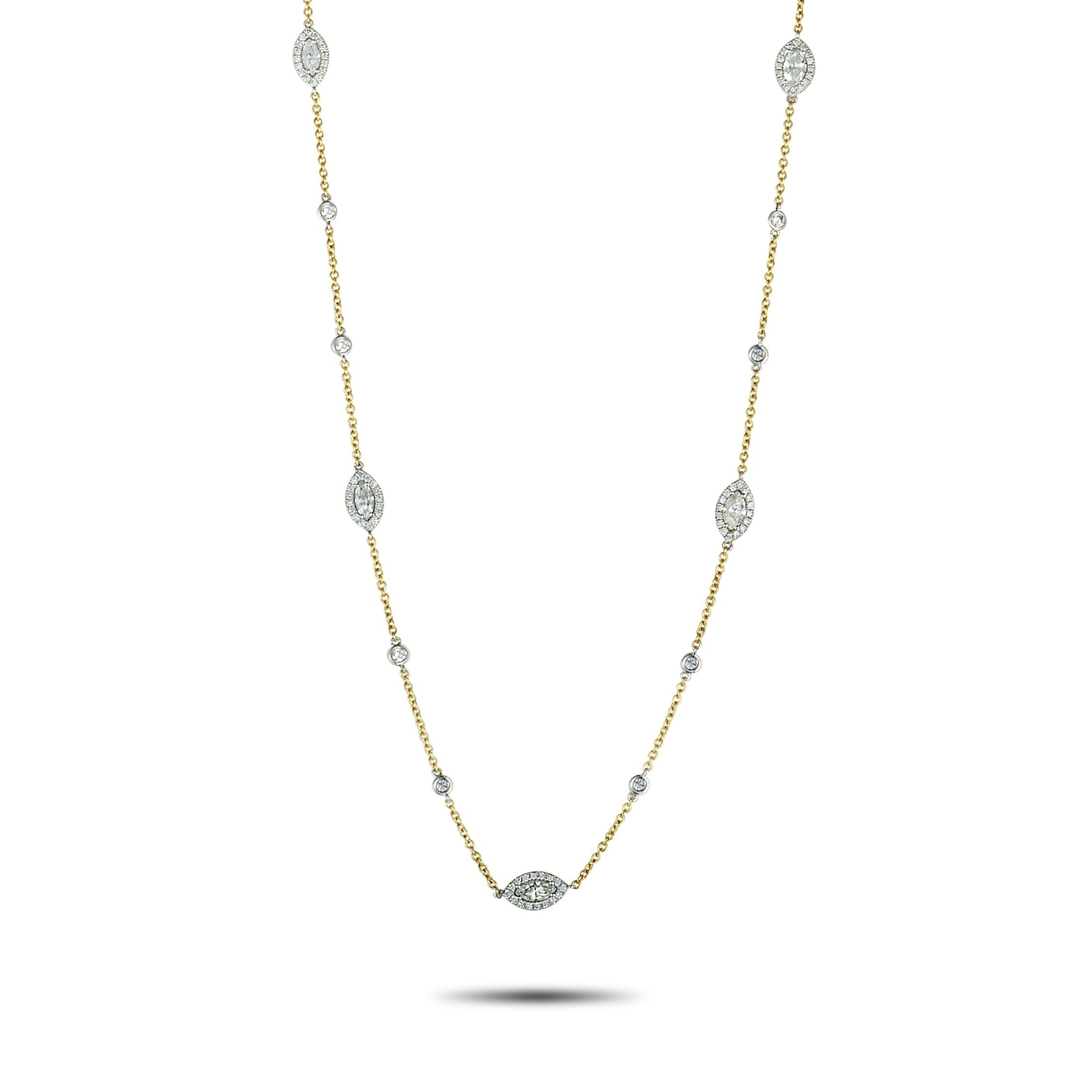 Lb Exclusive Yellow Gold And Round And Marquise Diamonds Long Sautoir  Necklace In Best And Newest White Gold Diamond Sautoir Necklaces (View 21 of 25)