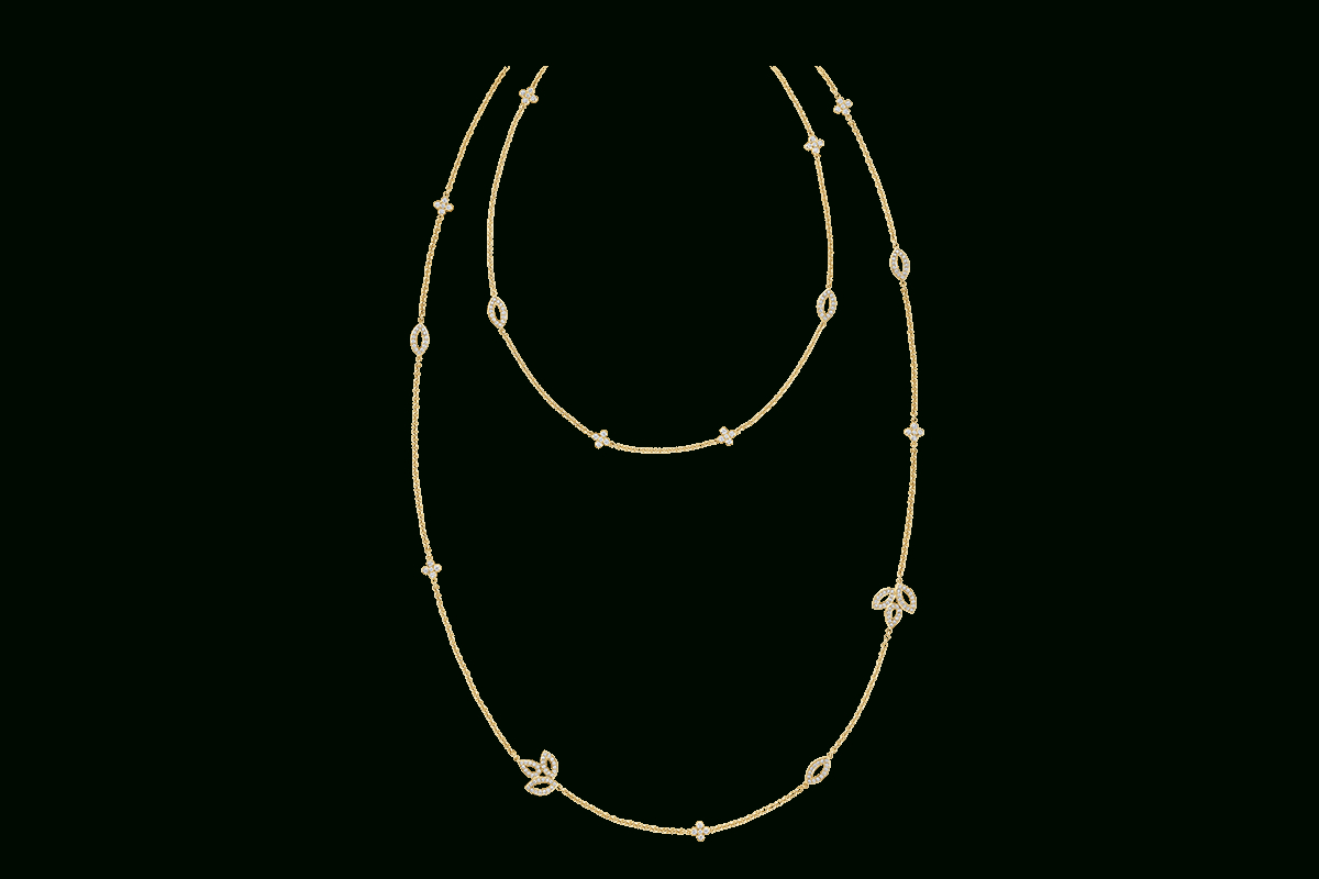 Lily Cluster Diamond Sautoir Necklace In Yellow Gold | Harry Within Most Recently Released Diamond Sautoir Necklaces In Platinum (View 18 of 25)