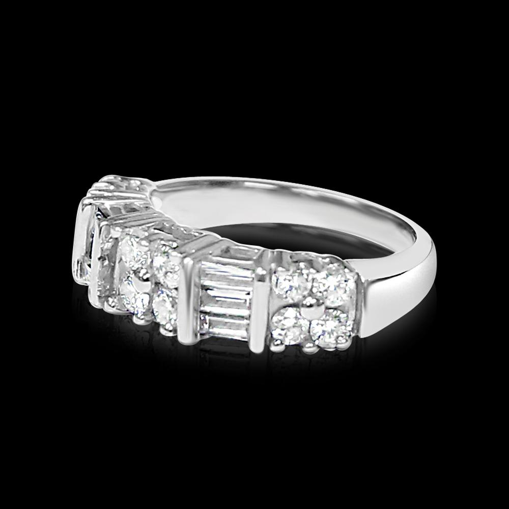 Lot 107: 14k White Gold & Diamond Engagement/wedding Band Pertaining To Most Current Channel Set Baguette Cut Diamond Wedding Bands (View 9 of 25)