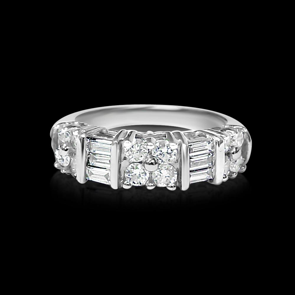 Lot 107: 14k White Gold & Diamond Engagement/wedding Band With Regard To Most Current Channel Set Baguette Cut Diamond Wedding Bands (View 8 of 25)