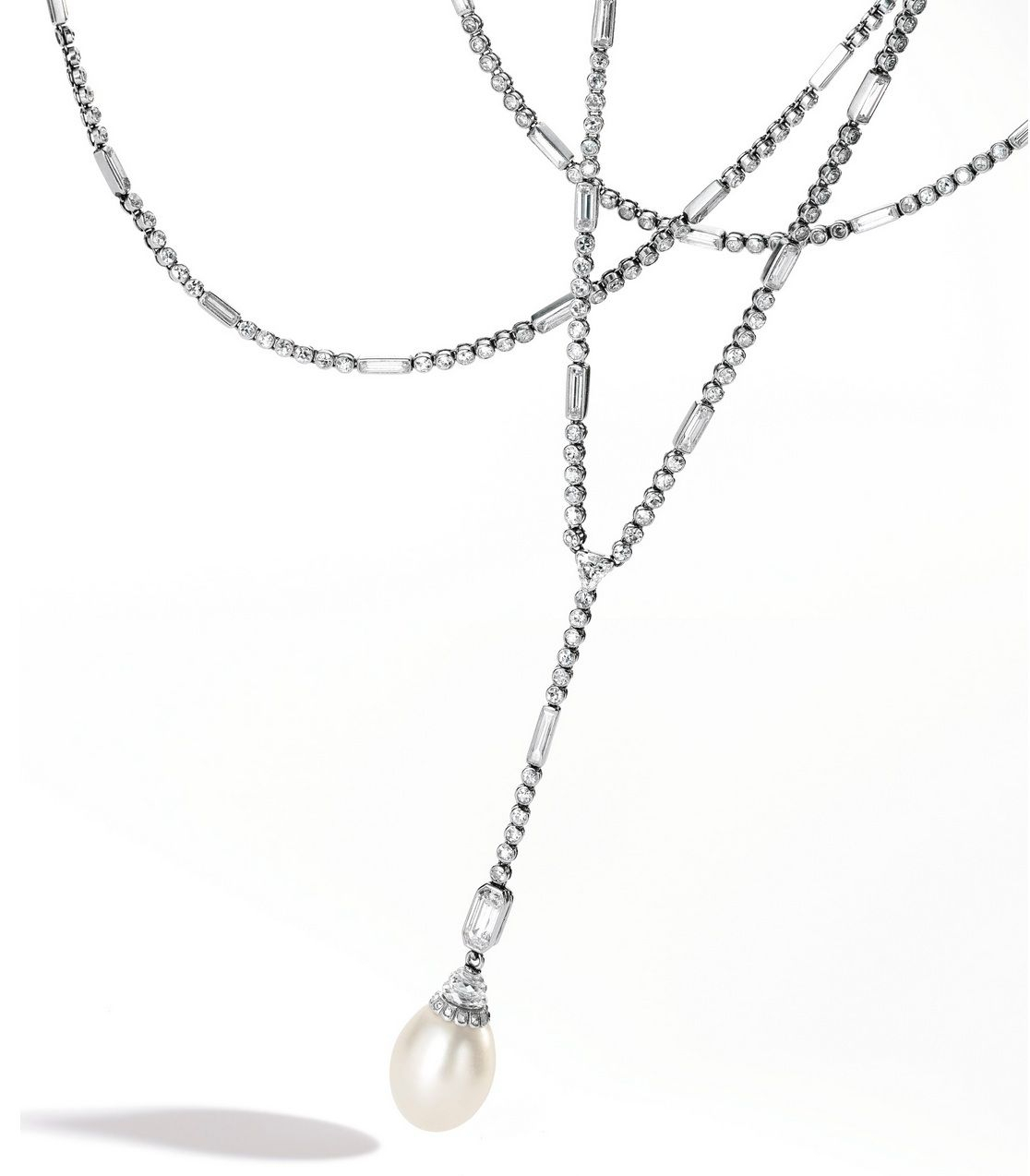 Lot 353 – Platinum, Natural Pearl And Diamond Sautoir Pertaining To Most Recently Released Diamond Sautoir Necklaces In Platinum (View 19 of 25)