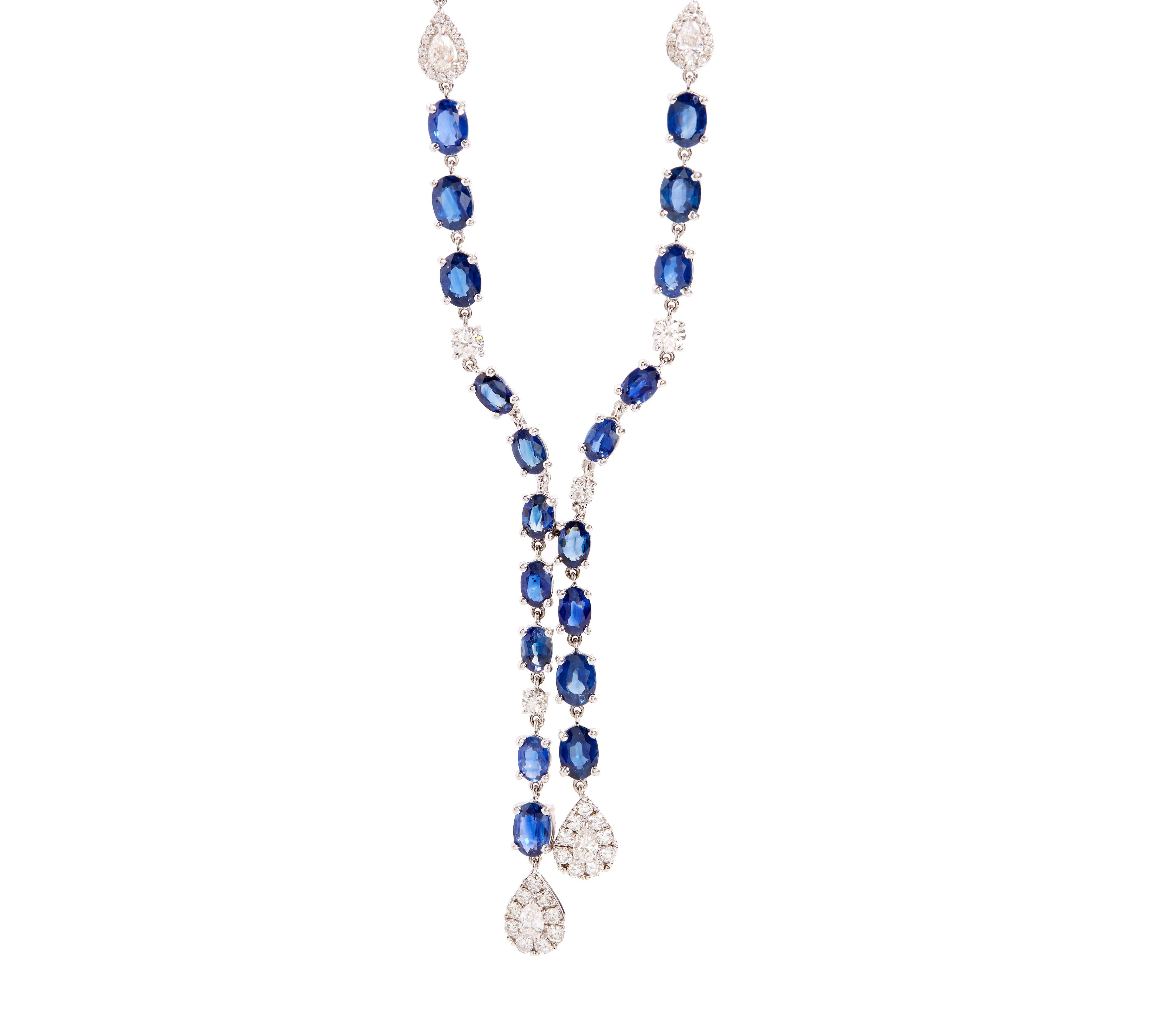 Lyst – Mimi So Couture Diamond And Sapphire Lariat Necklace Regarding Recent Lariat Sapphire And Diamond Necklaces (View 20 of 25)