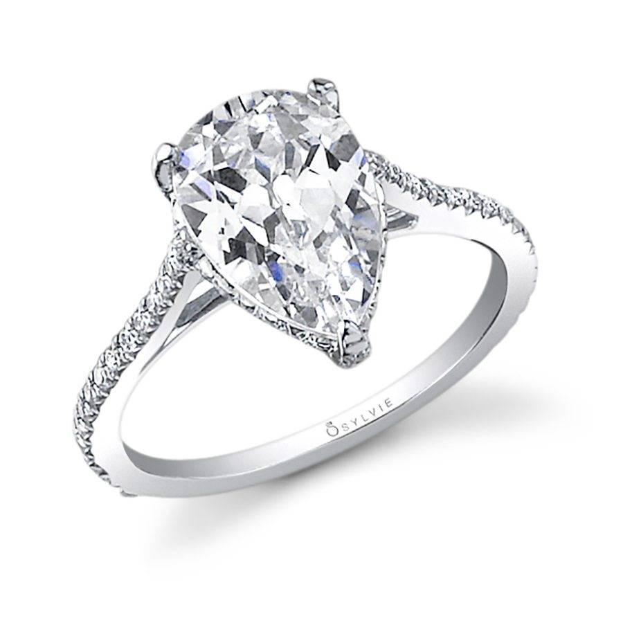 Madalyne – Pear Shaped Solitaire Engagement Ring – Sy483 | Sylvie Pertaining To Pear Shaped Engagement Rings (View 12 of 25)
