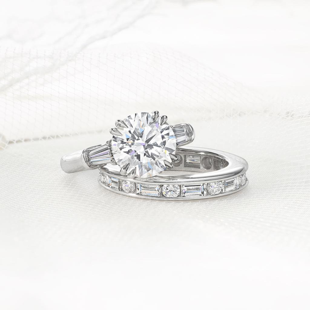 Made For Each Other. A Classic Winston™ Round Brilliant Intended For Best And Newest Channel Set Round Brilliant And Baguette Cut Diamond Wedding Bands (Gallery 21 of 25)