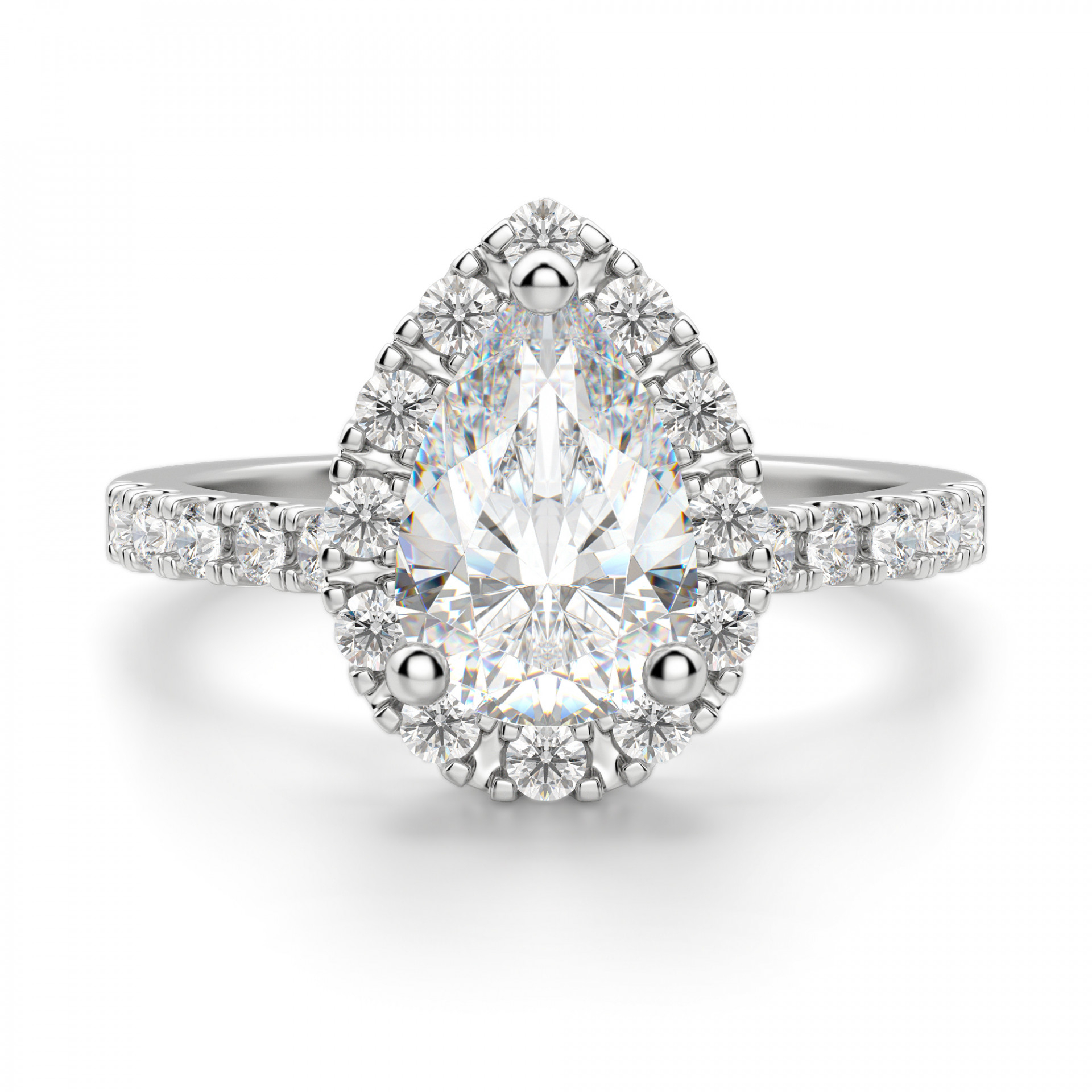 Madrid Accented Pear Cut Engagement Ring Intended For Pear Shaped Engagement Rings (View 3 of 25)