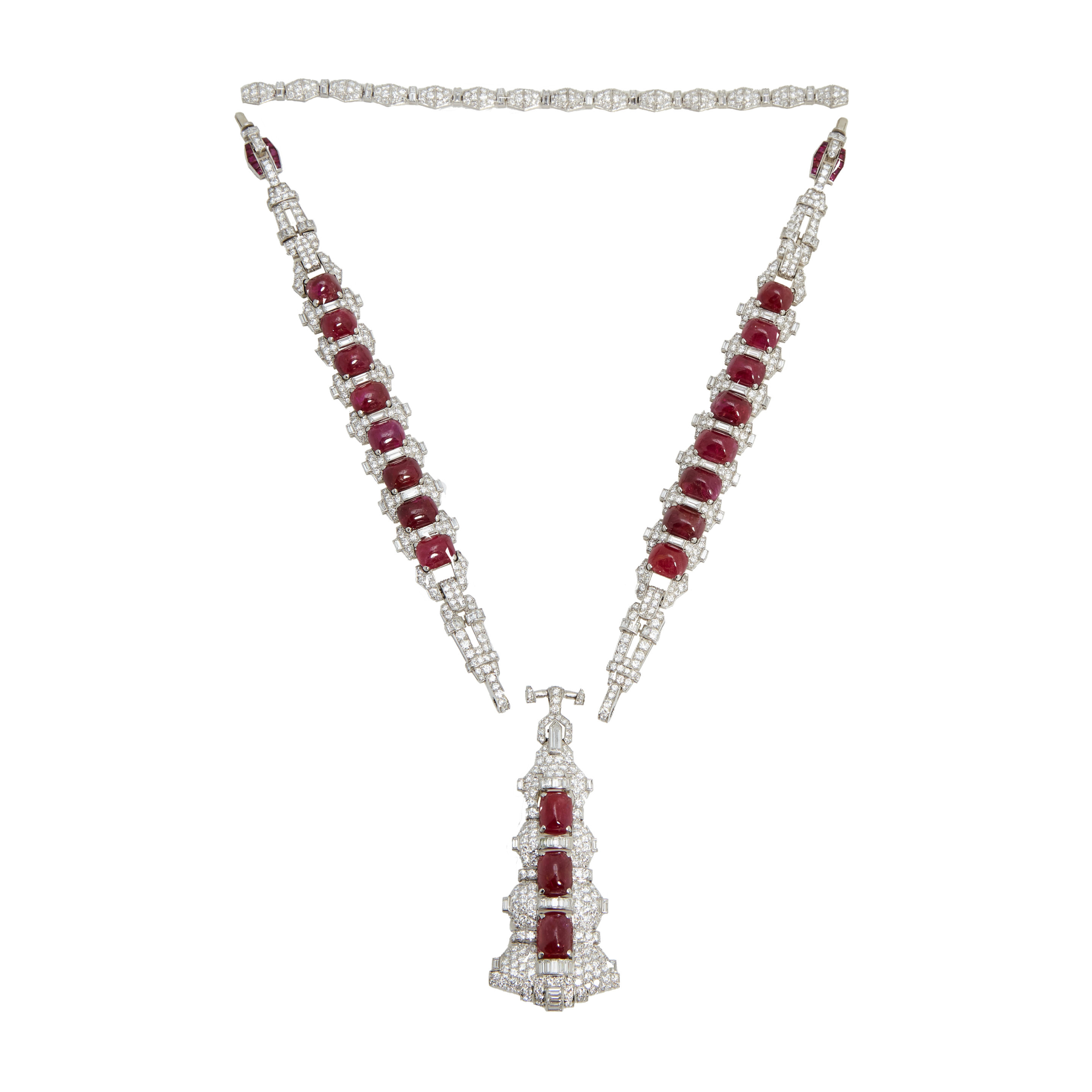 Magnificent Art Deco Burma Ruby & Diamond Sautoir – Eleuteri With Recent Diamond Sautoir Necklaces In Platinum (View 20 of 25)