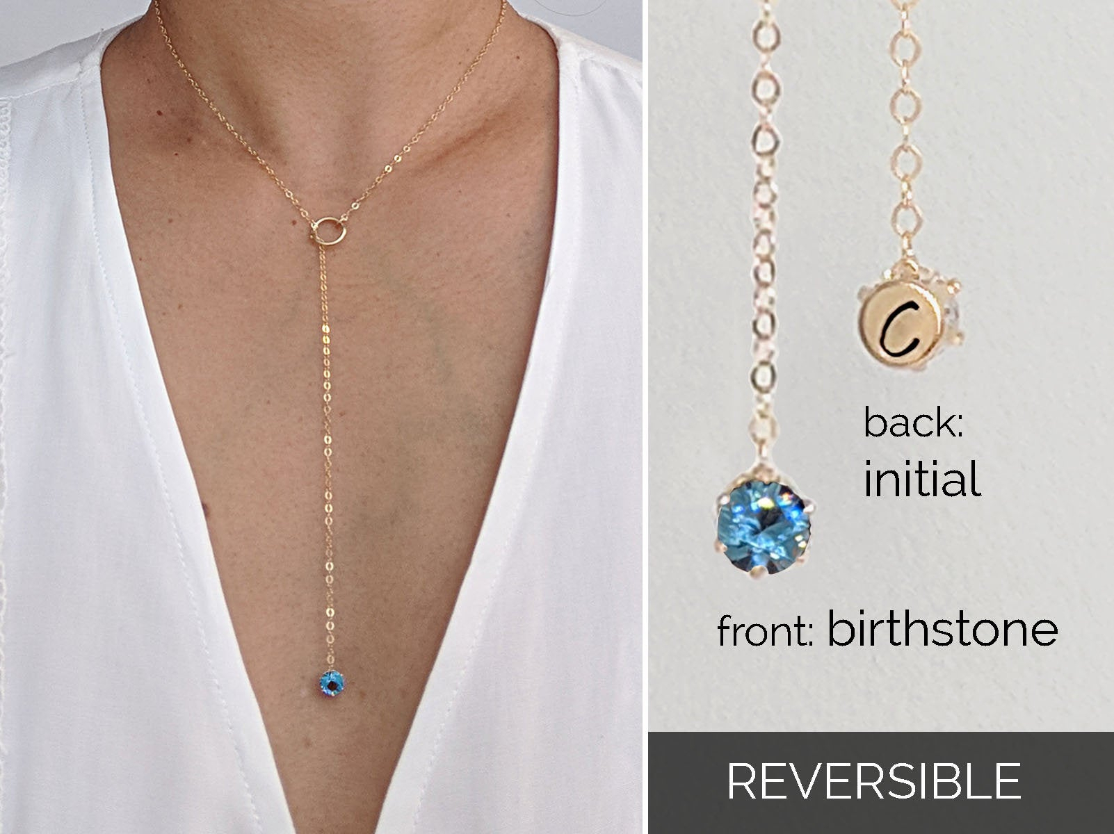 March Birthstone Necklace Initial Necklace Cz Aquamarine Necklace Gold  Lariat Necklace Dainty Silver Y Necklace Sister In Law Gift Birthday Within Most Popular Reversible Diamond, Sapphire And Aquamarine Pendant Necklaces (View 17 of 25)