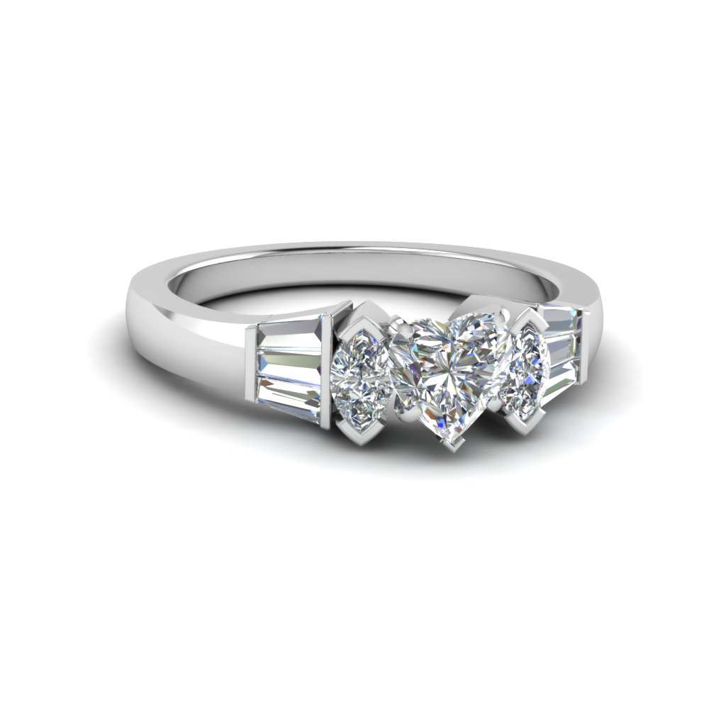 Marquise Baguette Ring For Heart Shaped Engagement Rings With Tapered Baguette Side Stones (View 7 of 25)
