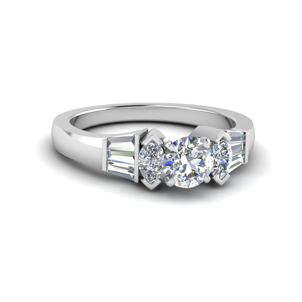 Marquise Baguette Ring Regarding Round Brilliant Engagement Rings With Tapered Baguette Side Stones (View 15 of 25)