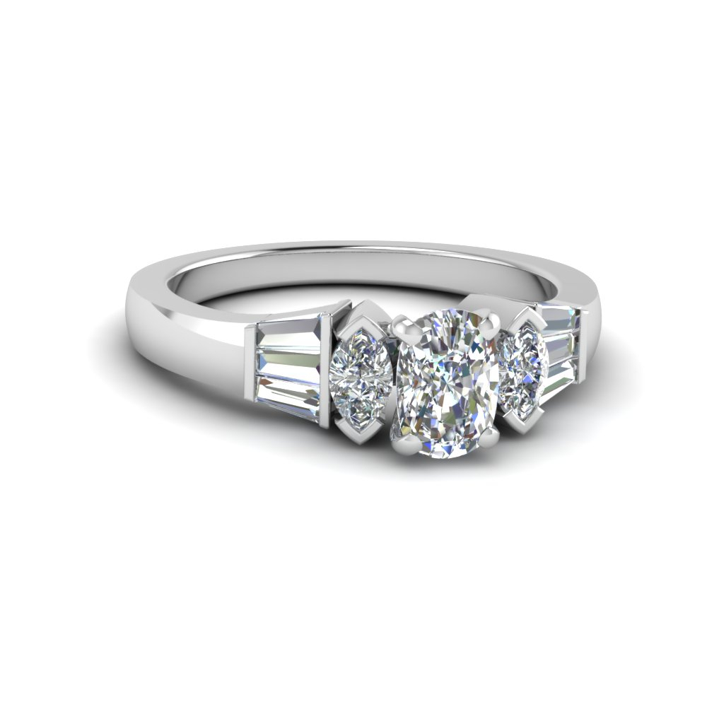 Marquise Baguette Ring With Regard To Cushion Cut Engagement Rings With Tapered Baguette Side Stones (View 24 of 25)