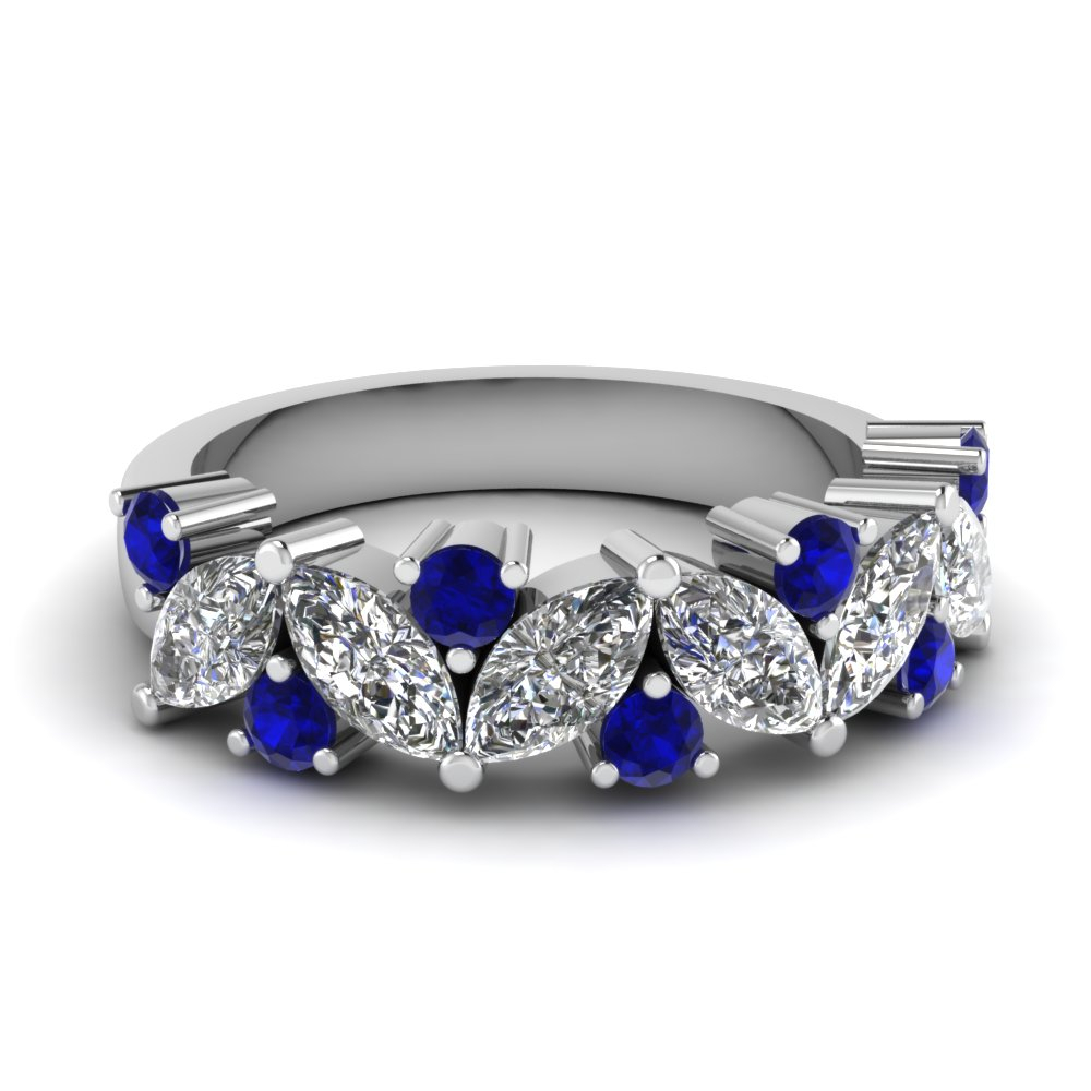 Marquise Diamond Wedding Ring Throughout Most Popular Prong Set Round Brilliant Sapphire And Diamond Wedding Bands (View 11 of 25)