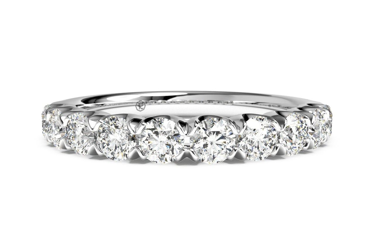 Masterwork Single Row Shared Prong Round Cut Diamond Band Inside Most Popular Round Brilliant Single Diamond Wedding Bands (Gallery 11 of 25)