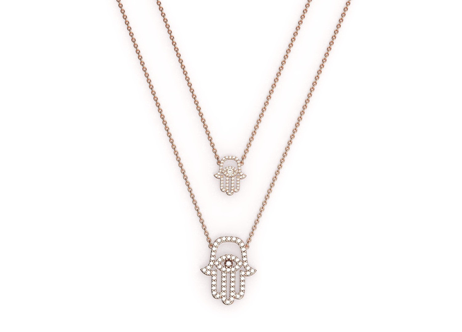 Medium Rose Gold And Diamond Hamsa Pendant On A Dainty Necklace, Hamsa Diamond Pendant, Evil Eye Necklace, Dainty Diamond Necklace, 18k Gold In Most Up To Date Medium Diamond Necklaces (View 18 of 25)