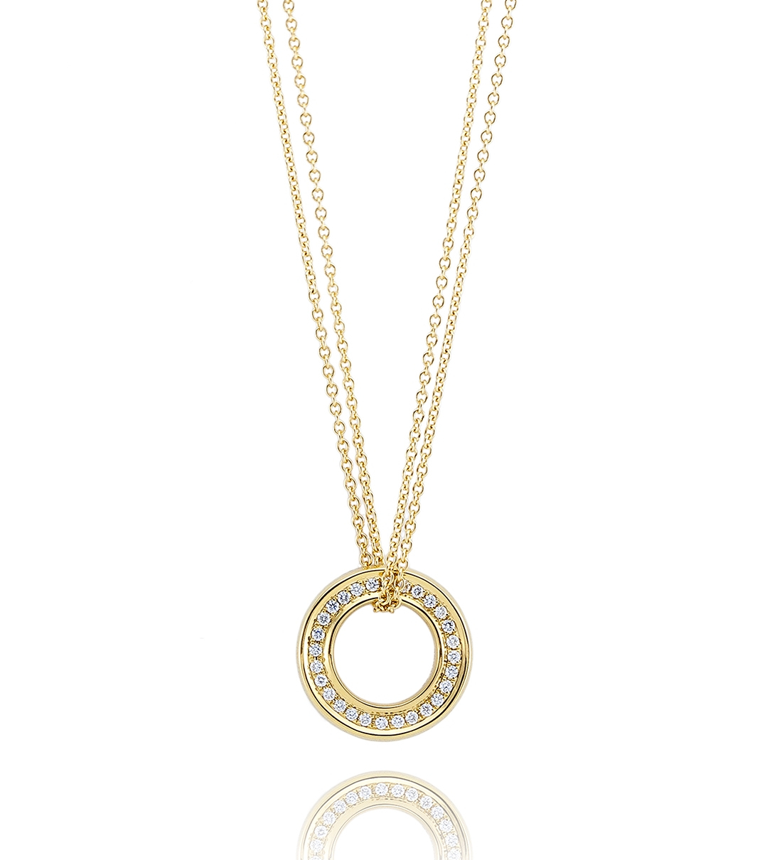 Medium Roulette Yellow Gold Diamond Pendant | Boodles For Newest Medium Diamond Necklaces (View 3 of 25)