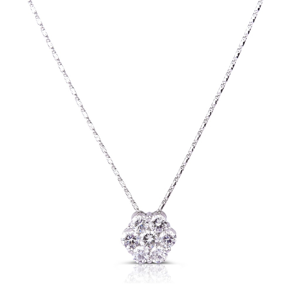 Medium Round Cluster Diamond Pendant In 14k White Gold ( (View 2 of 25)