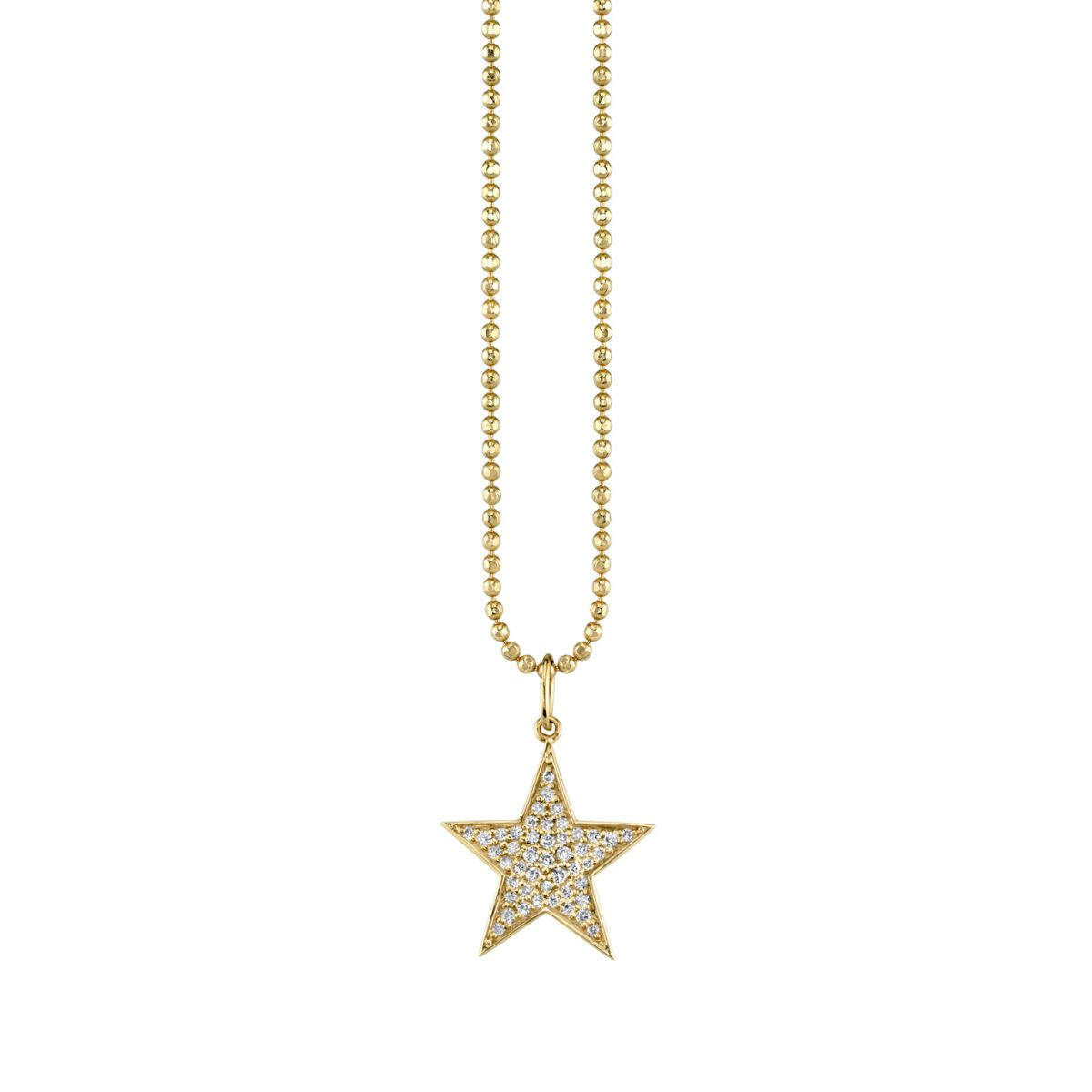 Medium Yellow Gold & Diamond Star Charm Necklace Within Newest Medium Diamond Necklaces (View 15 of 25)