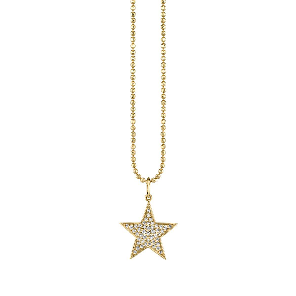 Medium Yellow Gold & Diamond Star Charm Necklace Within Newest Medium Diamond Necklaces (Gallery 25 of 25)