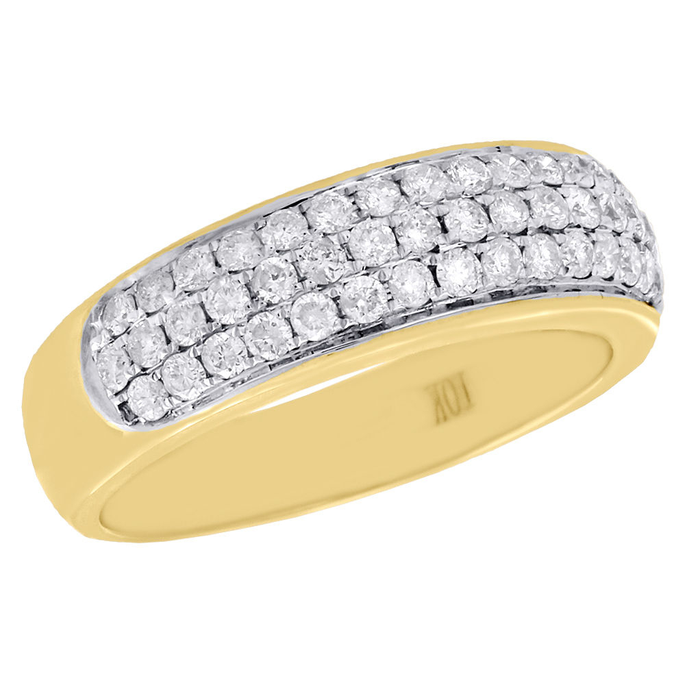 Mens 10k Yellow Gold Round Diamond Dome Wedding Band Pave 3 Pertaining To Most Recently Released Micropavé Diamond Dome Wedding Bands (View 18 of 25)