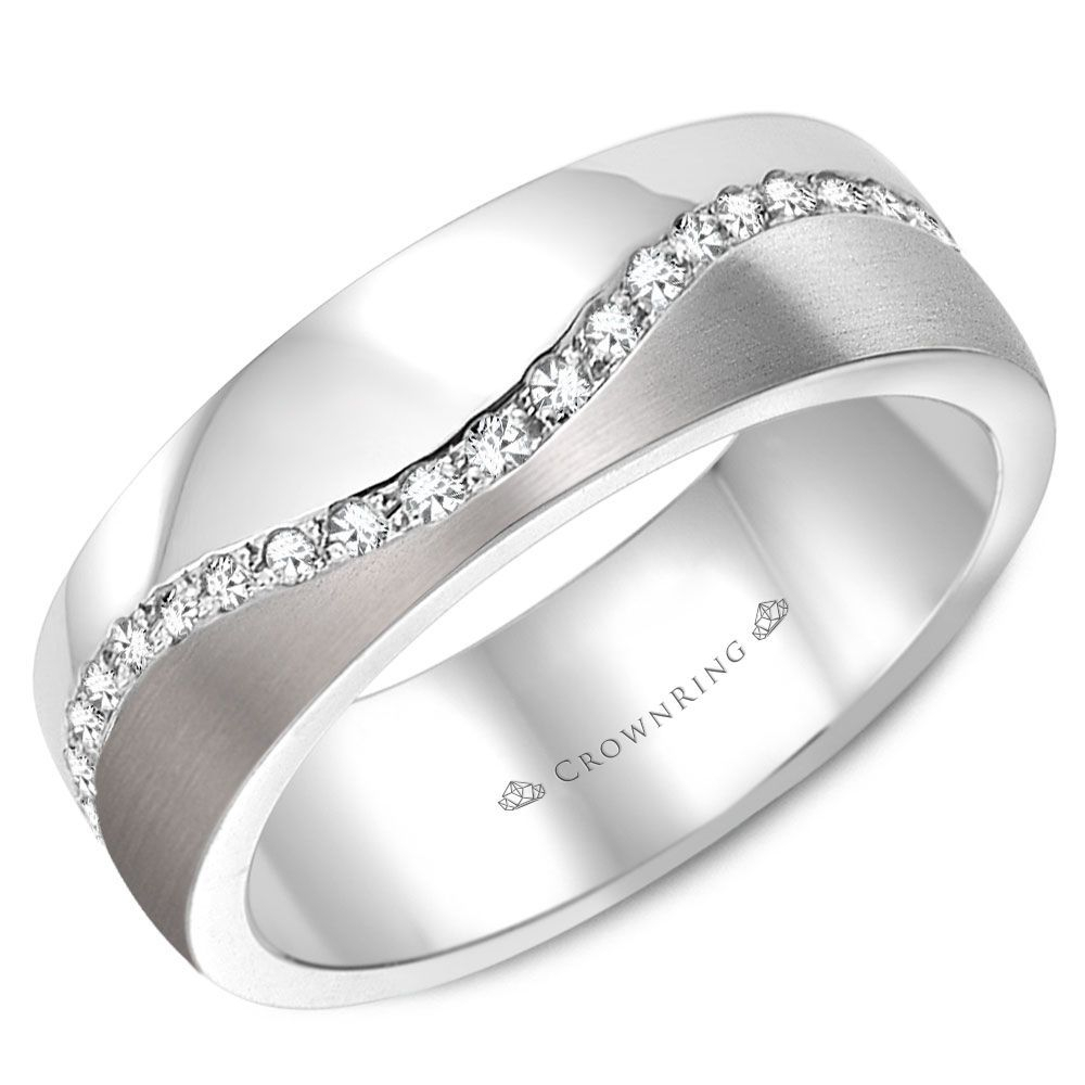 Mens Wedding Band 14K White Gold 6Mm With 0.4Ctw Of Diamonds Wb 8033 Intended For Most Popular Wave Diamond Wedding Bands (Gallery 23 of 25)