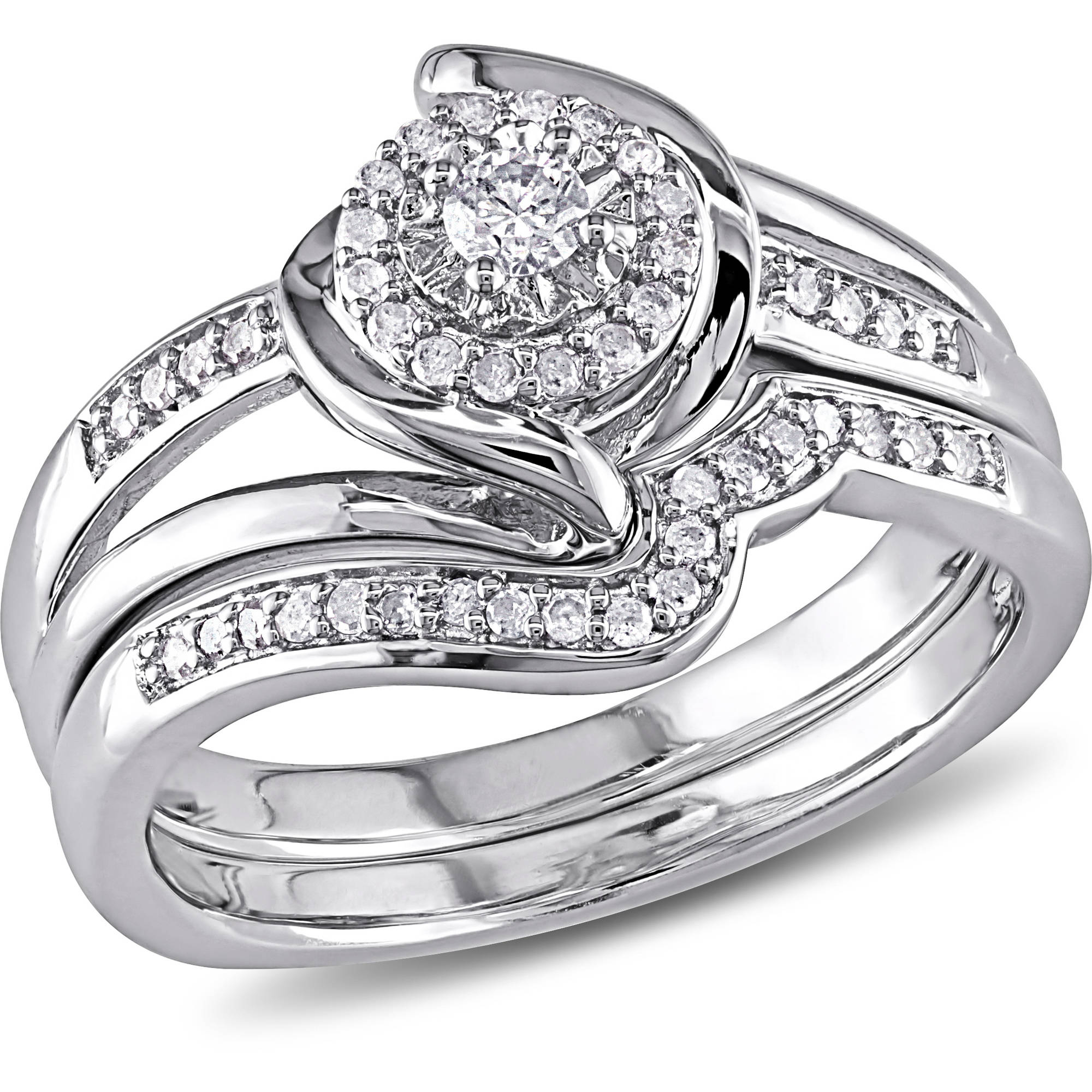 Miabella – 1/4 Carat T.w. Diamond Sterling Silver Halo Twist Bridal Set – Walmart Inside Current Prong Set Oval Shaped Diamond Wedding Bands (Gallery 11 of 25)