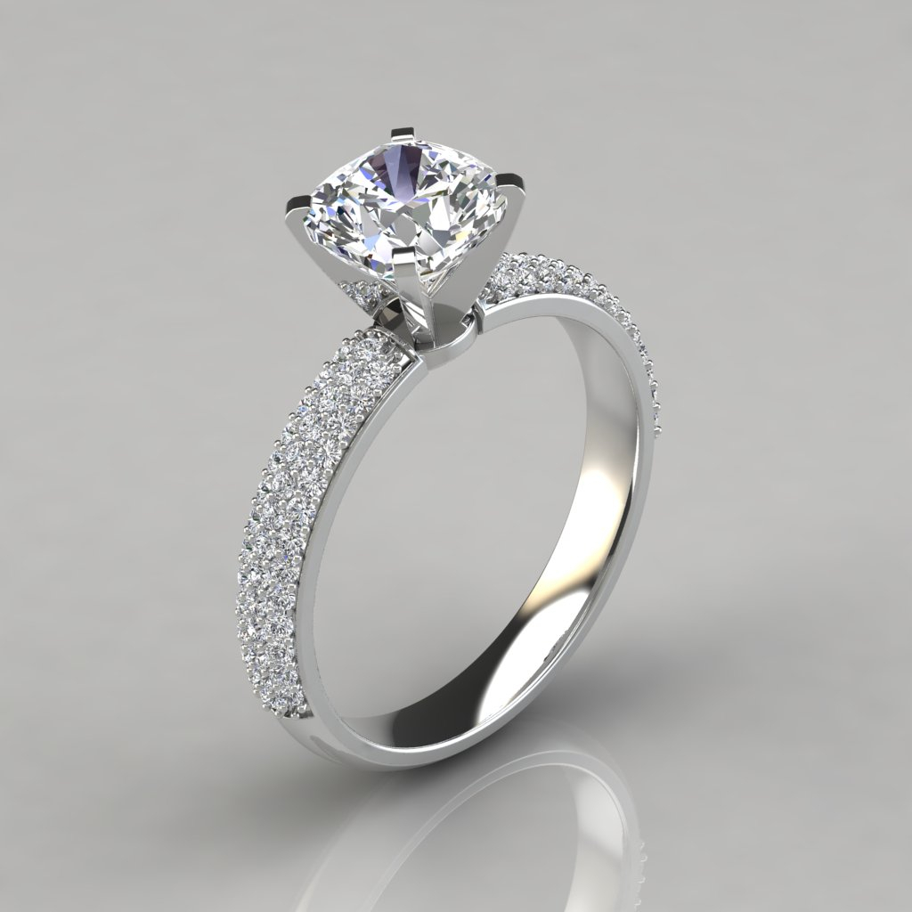 Micro Pavé Cushion Cut Engagement Ring – Puregemsjewels In Cushion Cut Diamond Micropavé Engagement Rings (View 2 of 25)