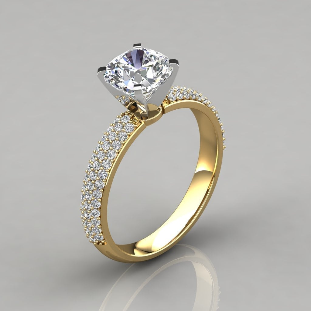 Micro Pavé Cushion Cut Engagement Ring Throughout Cushion Cut Yellow Diamond Micropavé Rings (Gallery 6 of 25)