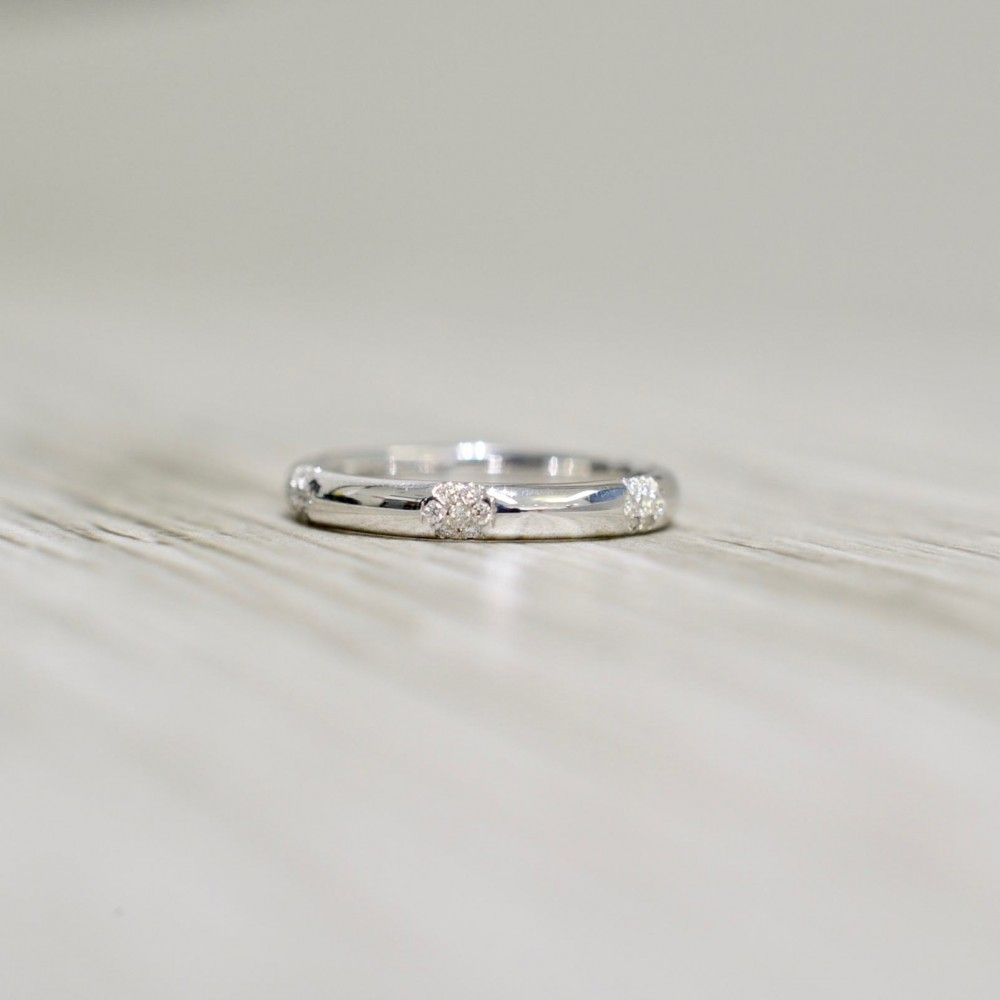 Micro Pavé Diamond Cluster Domed Wedding Band In White Inside Recent Micropavé Diamond Dome Wedding Bands (View 3 of 25)