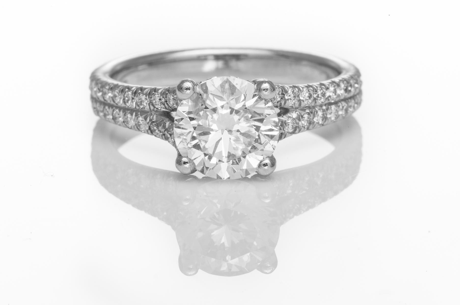 Micro Pave' Diamond Engagement Ring Intended For Most Popular Micropavé Diamond Narrow Wedding Bands (View 13 of 25)