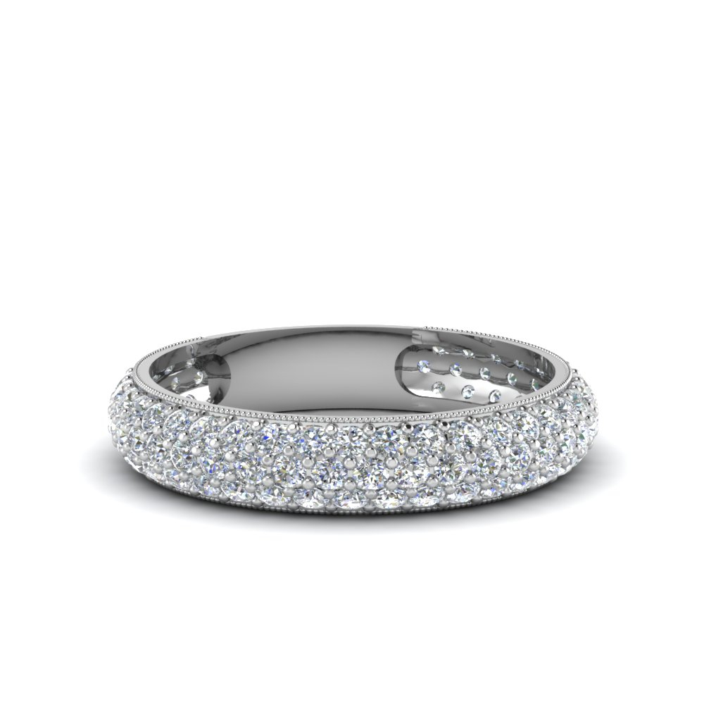 Micropave Diamond Band For Women For Current Micropavé Diamond Narrow Wedding Bands (Gallery 6 of 25)