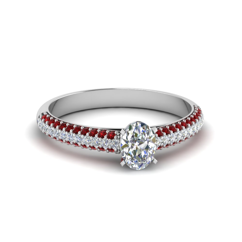 Micropave Natural Diamond Ring Pertaining To Oval Shaped Ruby Micropavé Rings (Gallery 4 of 25)