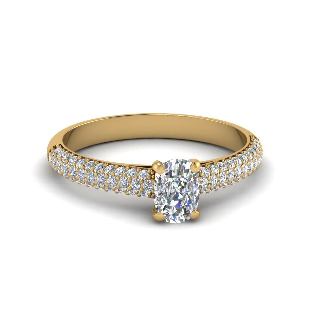 Micropave Natural Diamond Ring Regarding Cushion Cut Yellow Diamond Micropavé Rings (Gallery 8 of 25)