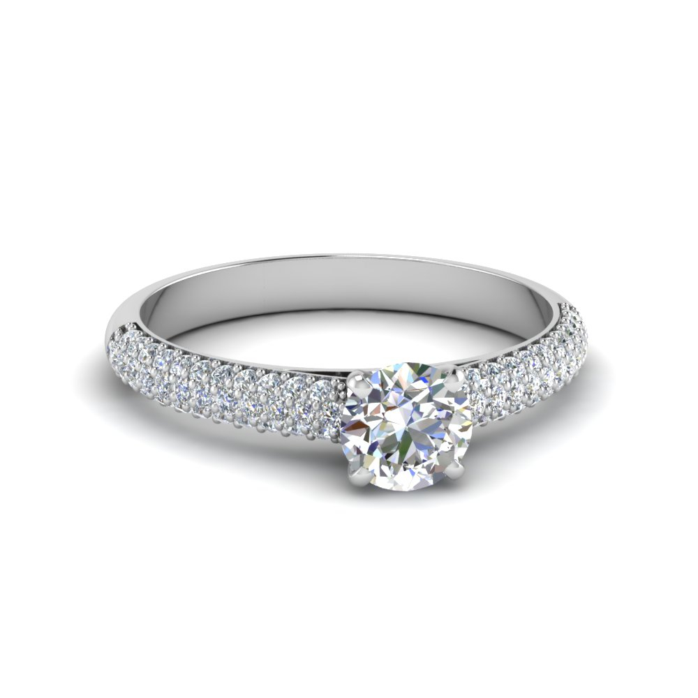 Micropave Natural Diamond Ring Regarding Round Brilliant Diamond Micropavé Engagement Rings (View 11 of 25)