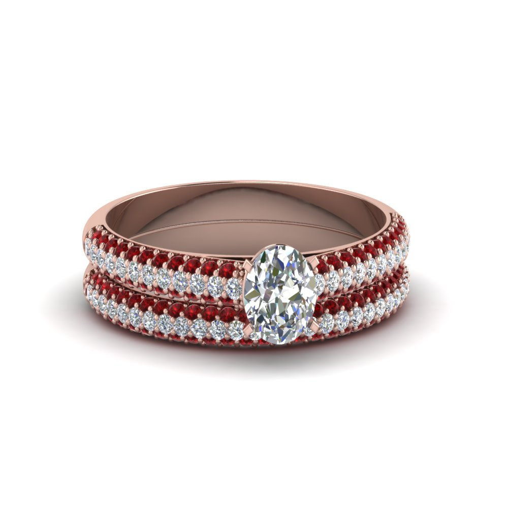 Micropave Ring With Diamond Band In Oval Shaped Ruby Micropavé Rings (Gallery 6 of 25)