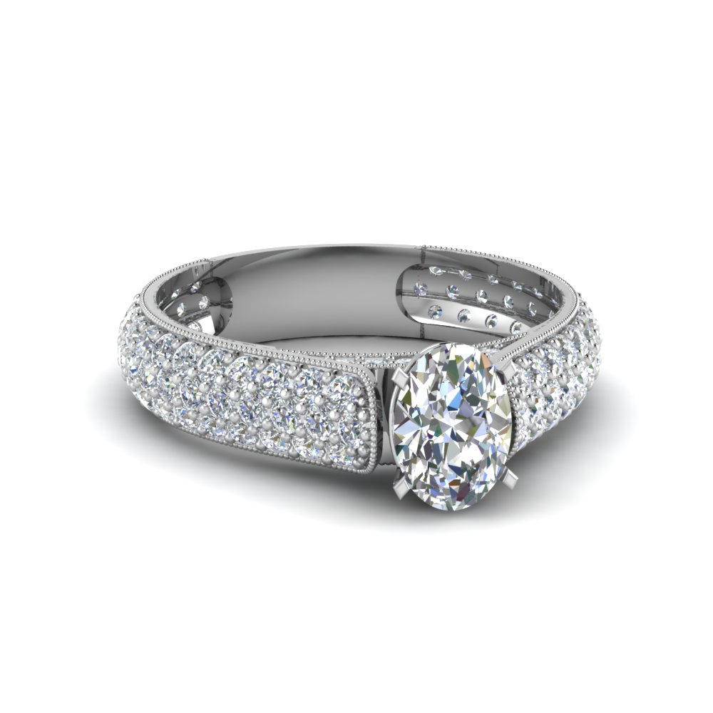Milgrain Multi Row Pave Diamond Ring With Regard To Oval Shaped Diamond Micropavé Engagement Rings (View 14 of 25)