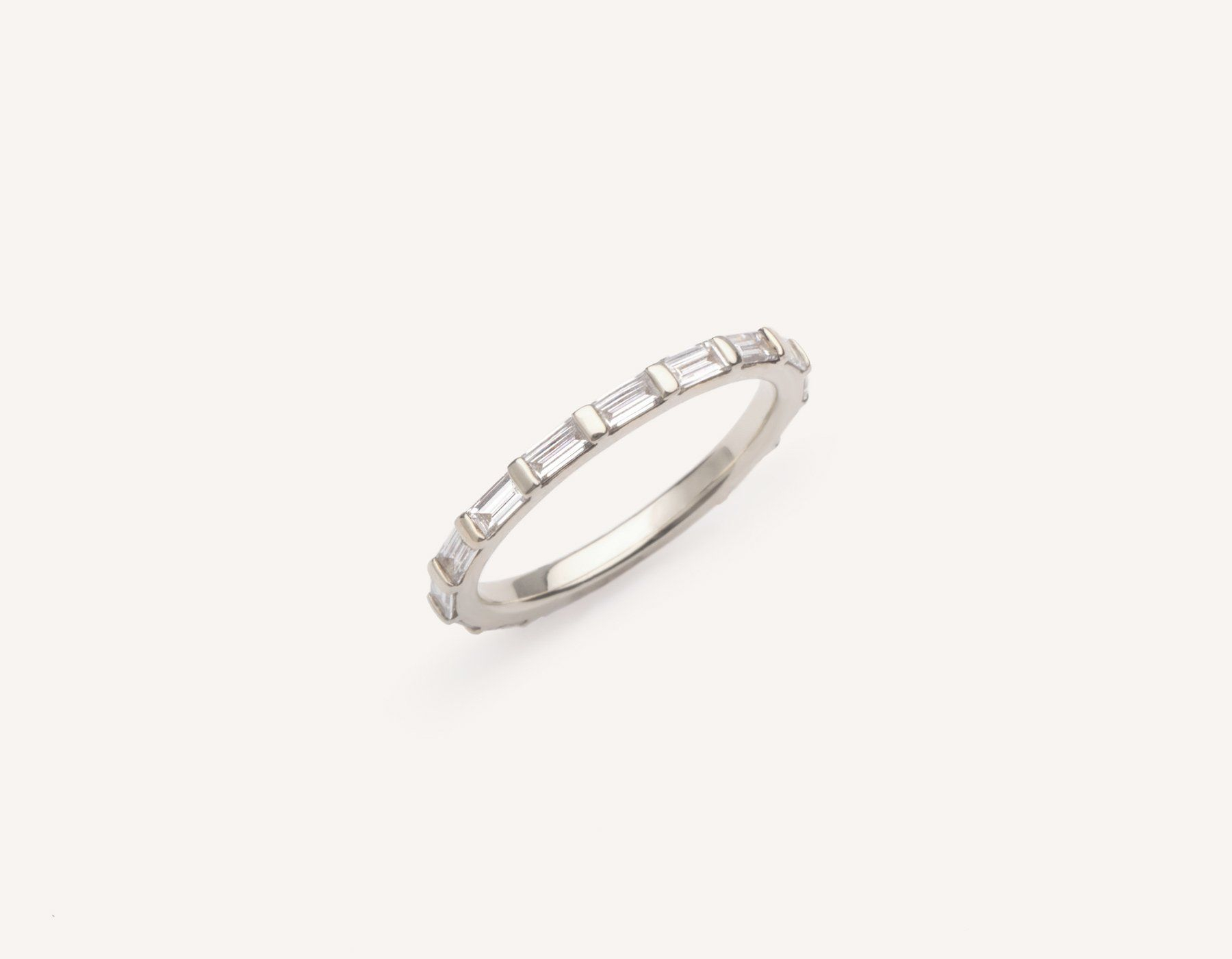 Minimalist 18k Solid White Gold Baguette Diamond Infinity Regarding Most Up To Date Micropavé Diamond Dome Wedding Bands (View 10 of 25)