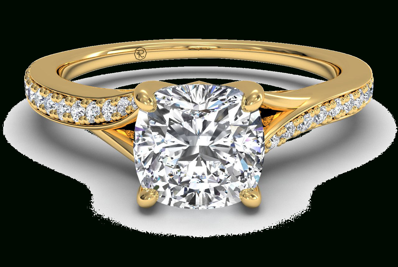 Modern Bypass Micropavé Diamond Band Engagement Ring – In 18kt Yellow Gold – ( (View 11 of 25)