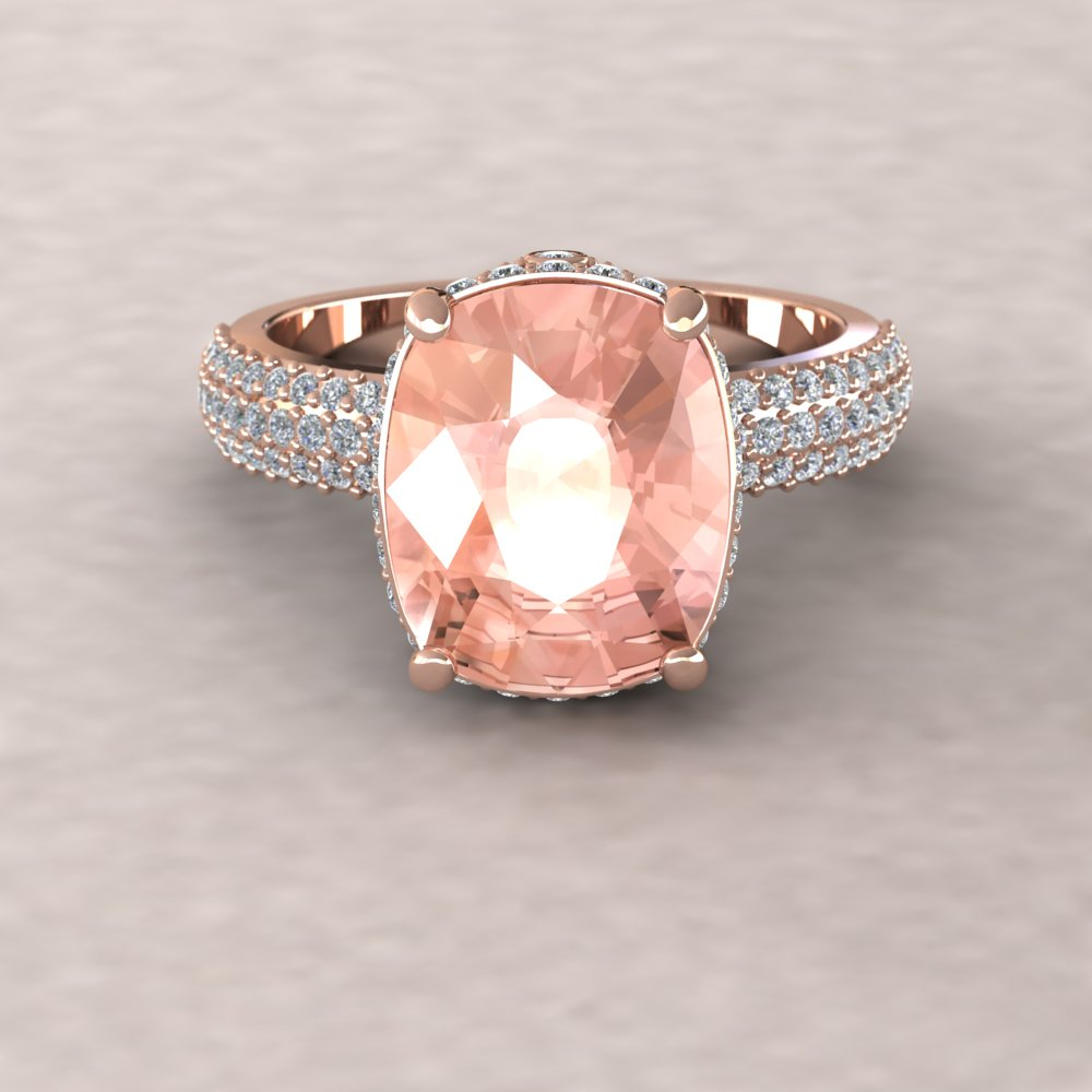 Morganite Engagement Ring – 11X9Mm Rectangular Cushion Cut Adeline Ring  With Diamonds For Cushion Cut Yellow Diamond Micropavé Rings (Gallery 24 of 25)