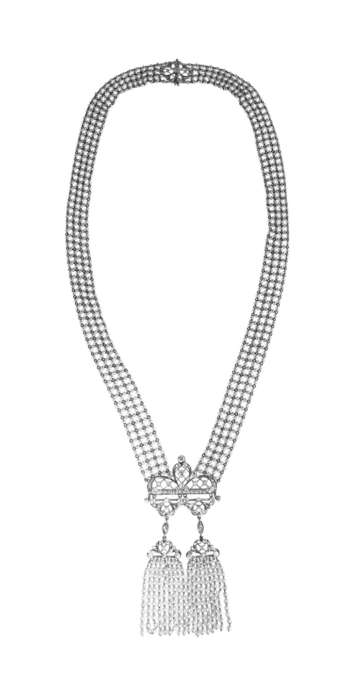 Necklaces – Edwardian Seed Pearl And Diamond Sautoir | 3754 Regarding Recent Diamond Sautoir Necklaces In Platinum (View 21 of 25)