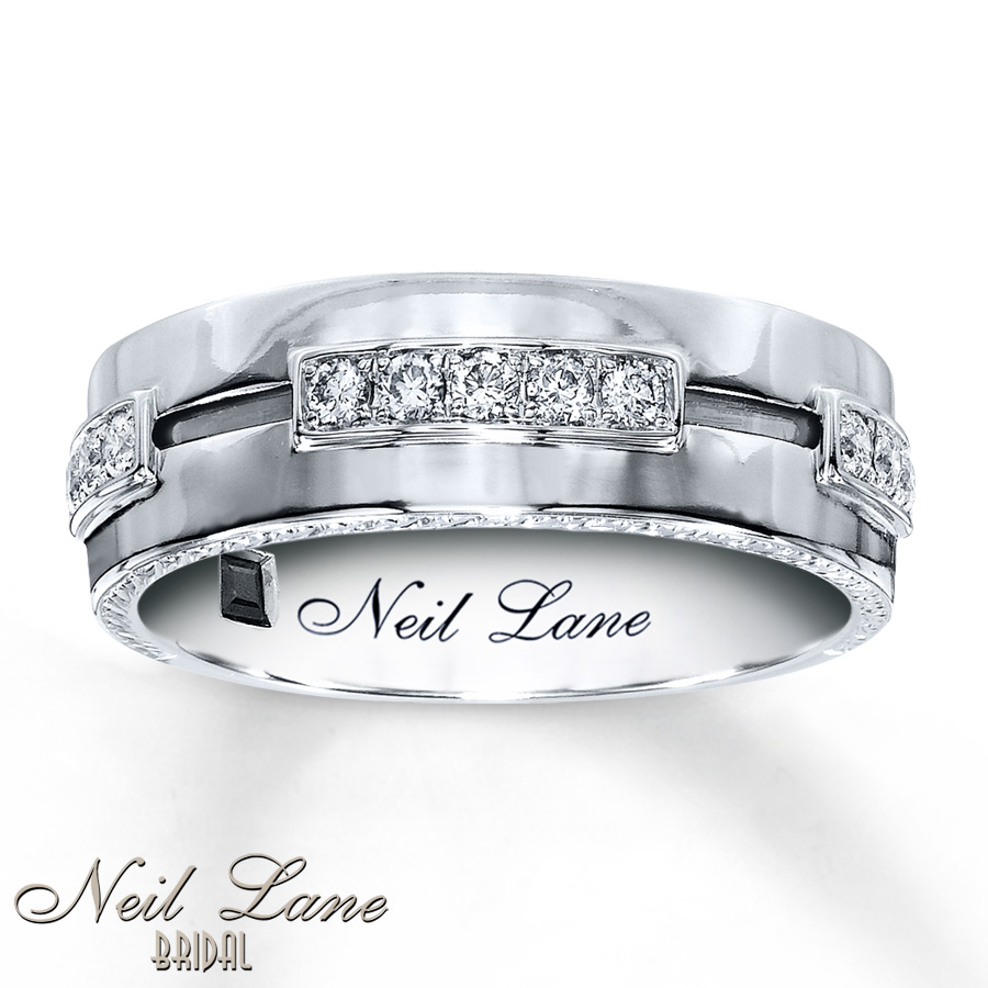 Neil Lane Men's Band 1/3 Ct Tw Diamonds 14K White Gold, 7.5Mm Intended For Recent Vertical Diamond Row Wedding Bands (Gallery 23 of 25)